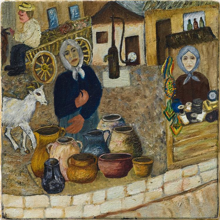<b>Kreinchi the crockery seller</b> - Kreinchi the crockery seller, along with her faithful companion the goat.