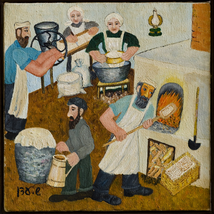 <b> 1979 The Matzah Bakers</b> -  The matzah bakers worked hard to have the matzhs ready for Passover. The children  liked sneaking in to watch the matzhs being baked, and were regularly kicked out by the annoyed bakers.