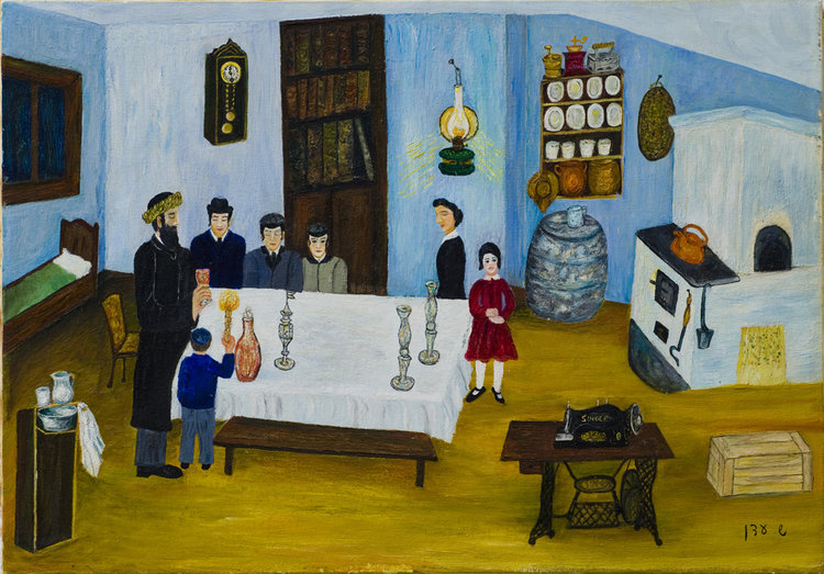 <b>Havdalah</b> - The Shwartzbach family at Havdalah. Their youngest son died and therefore was painted from the back.