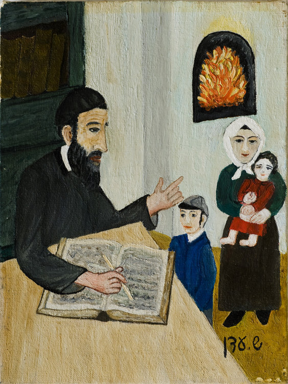 <b>Father Examining his Son</b> - Shabbat at night, and the father holds the weekly examination, to see what his son learned at the Heyder.