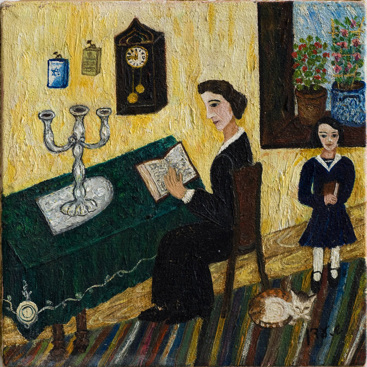 <b>Basia Banner and her mother</b> - Shabbat morning, Basia Banner and her mother Nechama  relax and read. Mrs Banner replaced her kerchief with a wig, as was the custom for Shabbat and festivals.